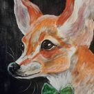 Original Dogs Painting by Leah Friesen   Illustration Art on Canvas   Chihuahua with Bow Tie