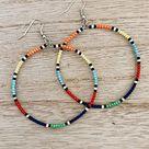 Beaded Hoop Earrings, Big Earrings, Beaded Hoops, Seed Bead Earrings, Beaded Earrings, Gift for Girlfriend, Seed Bead Hoops, Libby & Smee