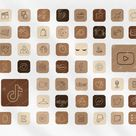 50 ios APP ICONS, Neutral Beige Chocolate AESTHETIC Theme, App Covers, Icons Bundle, ios App Covers, ios 14, ios Themes, Icons for iPhone