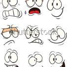 Cartoon Gesichter. Vektorclip Kunstillustration. Jede auf einer Stock Vektorgrafik Lizenzfrei 141236302