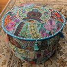 Patchwork Pouf Ottoman ~ Medium Size - Purple