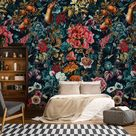 Dark garden wallpaper, removable peel and stick wall mural, floral home decor, temporary wallpaper, home decor