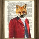 FOX HUNTING PRINT: Master of Hounds in Red Coat, Dictionary Art
