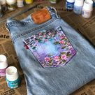 Hand painted jeans pocket Monet Waterlilies jean price Not   Etsy