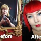 Awesome mega bright red bob with cute straight fringe/bangs by Sarah at Live & Let Dye in Mt Eden NZ