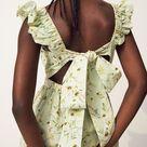 Poplin Dress - Light green/floral - Ladies   H&M US