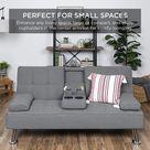 Gray Folding Sofa Metal Legs, 2 Cupholders