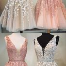 Short A-line V-neck Beaded Sashes Tulle Prom Homecoming Dresses Lace Embroidery M4535