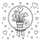 Hearts in Flower Pot Coloring Page • FREE Printable eBook