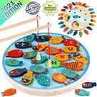 AmazonSmile: CozyBomB Magnetic Wooden Fishing Game Toy for Toddlers - Alphabet Fish Catching Counting Preschool Board Games Toys for 3 4 5 Year Old Girl Boy Kids Birthday Learning Education Math with Magnet Poles : Toys & Games