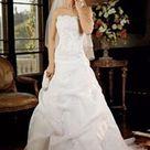 NEW Davids Bridal 9V9263 Size 16, White Beaded Corset Bodice, Lace Beaded Appliques Adorn the Full Pick Up Skirt, Chapel Train, Underskirt