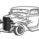 Hot Rod Cars With Flaming Theme Coloring Pages