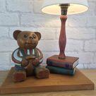 Teddy Bear Decor, Bear Decor, Bedside Lamp, Teddy Bear Gift, Childs Room Decor, Vintage Teddy Bear, Wooden Bear, Bedroom Lighting, Nursery
