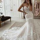 Mermaid Unique Fashion Lace Long Vintage Wedding Dresses WD044   US8 / Picture Color