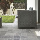Terrassenboden mit Feinsteinzeug Wand  und Bodenfliese Leo Grigio