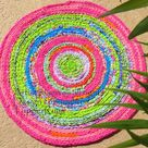 Rag rug braided crochet rug Palm Beach designer   Etsy
