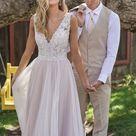 F211011 Beautiful Embroidered Lace & English Net A line Wedding Dress