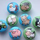 Farm Drawer Knobs / Dresser Knobs / Farm Animals Tractor | Etsy