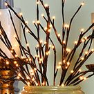 Electric Lighted Willow Branch   60 Bulbs   20 Inches Timer Indoor/Outdoor