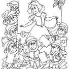 Ausmalbild Märchen: Schneewittchen und die sieben Zwerge kostenlos ausdrucken
