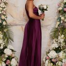 Pleated Satin One Shoulder Bridesmaid Maxi Dress in Berry