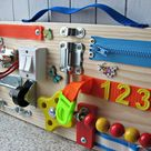 Busy Board  20 x 50 cm (8 x 20 inches) ,Toy for toddler, Sensory Children game,Activity Toy, Toy with buckle, Wooden Toy, Toddler quiet game