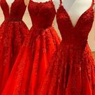 A-Line Red Appliqued Long Prom Dress M32