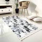Machine Washable Non-slip Living Room Rugs Mat Faded Grey Design - 80cm x 150cm