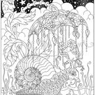 Snail under Umbrella by Ruby Charm Colors - downloadable, printable coloring page, PDF, adult colouring, nature, rain, floral