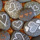 Painted Hearts Rocks # 7