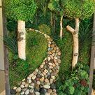 Moss Wall Art. Journey. Moss Art. Home Decor. Stone path.