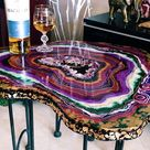 Purple Gold Table, Epoxy resin, Geode Table, Coffee Table, Exclusive Furniture,Loft Table, Resin Table, Luxury Gift table, Wood Table, Agate