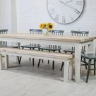 Contemporary Dining table and bench set    farmhouse table   Reclaimed wood   handmade to any size 7ft 8 seater   weathered oak