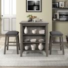 TiramisuBest 3 Piece Square Dining Table with Padded Stools (Dark Grey), Gray