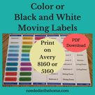 Printable Moving Labels to use Packing for a House Move print on Print on Avery® Easy Peel® Labels (8160) or (5160) PDF download