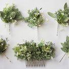 Eucalyptus hair comb pin set greenery baby breath comb hair | Etsy