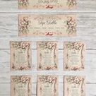 Vintage Style Pink Wedding Table Plan Cards Seating Planner