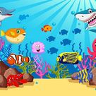 Underwater Animals Cartoon Backdrop for Photo Booth LV-480