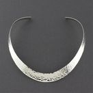Hammered Silver Collar Necklace - Silver