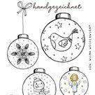 Handgezeichnete Malvorlagen Weihnachtskugeln (10 Stück)