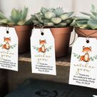 Succulent Favor Woodland Baby Shower Editable Template Fox Baby Shower Favor Tag Printable - WT1