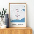 London to Brighton Bike Ride map, Cycling print