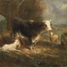 Eugène Fromentin-Dupeux, 1849 - Barnyard cattle - fine art print - Metal print (Aluminium Dibond) / 120x80cm - 47x31