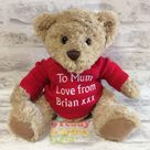 Personalised Teddy Bear 10 Inch Knitted Jumper Embroidered with a NAME or TEXT. Great New born Baby Boy Girl Gift Christening Gift