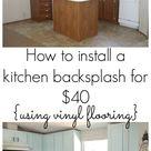 Our $40 Backsplash {Using Vinyl Flooring} - Re-Fabbed