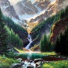 Rocky Mountain Waterfall - Landscape Paint By Number - Numeral Paint