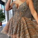 Champagne Sexy V Neck Tulle Short Cocktail Dress Luxury Crystals Beaded A line Party Gowns   Champagne / 24