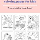 Unicorns coloring pages for kids - free printable