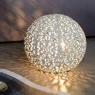 Runde Tischleuchte Paolo in weiss, 145mm