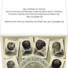 AD: HAIRCUTS, 1884. Hair cutting chart. Illustrations of various mens hairstyles. Greetings Card. AD: HAIRCUTS, 1884. <br> Hair cutting chart. Illust.